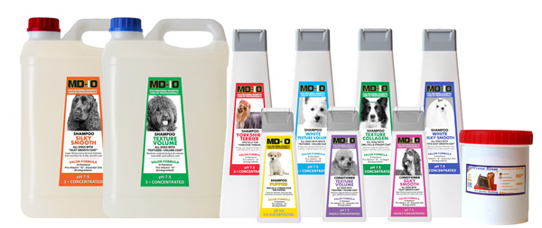 MD10 Dog Cats Grooming Shampoo and Conditioner Products range for Professional Dog Groomers